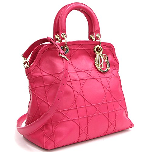 Dior(ディオール) 2WAYハンドバッグ グランヴィル ピンク レザー 中古 チャーム付き ロゴ レディディオール革 カナージュ Christian Dior [並行輸入品]