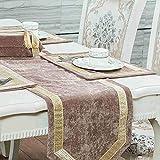 QY テーブルランナー テーブルフラグ 贅沢 コーデュロイ 表 テーブルランナー テーブルクロス テーブルランナー 罰金 刺繍 渦巻き 設計 QY テーブルランナー (Color : B Camel, Size : 33*150cm)