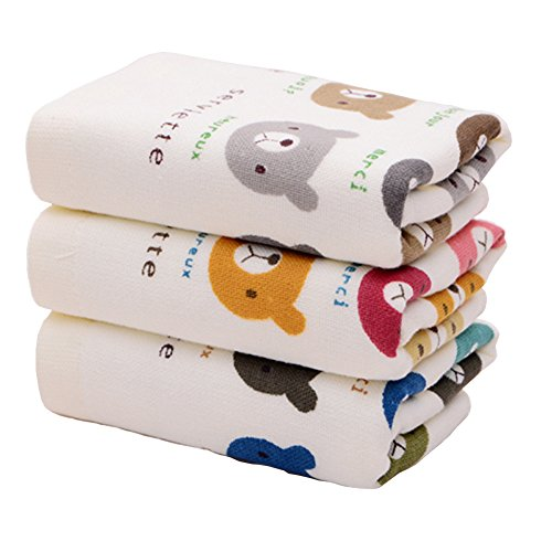 YUUWAフェイスタオル 乾き早い 吸水ハンドタオル 3枚セット ふわふわ肌触り 速乾 可愛いコットンタオル 清潔 33×76cm 湿気 梅雨対策