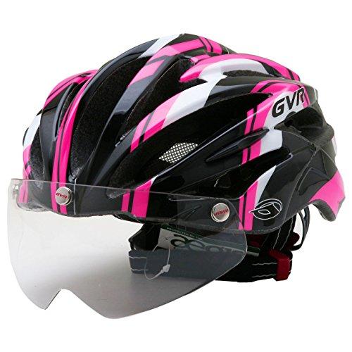 GVR G-307V サイクルヘルメット JCF公認 10 ディフェンダー/ピンクー 54-60cm クリアシールド付 G-307V