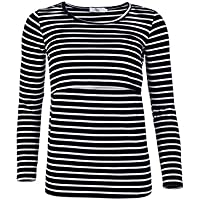 Elma & Me Women's Striped Maternity Nursing top, Long Sleeve