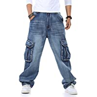 PY-BIGG Plus Size Mens Jeans Relaxed Fit Cargo Pants Big & Tall Loose Style Fashion Rugged Wear 30-46W