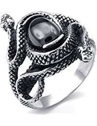 PW 高品質チタン&ステンレス 蛇x宝石指輪リンク 22559 【ラッピング対応】