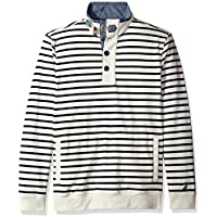 Nautica Mens K74570 Long Sleeve 1/2 Button Down Striped Sweatshirt Sweatshirt - White