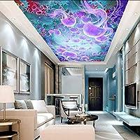 Wxmca カスタムクラゲ海3D天井壁紙用ホールリビングルーム3D壁天井壁画3D壁壁画3D壁紙壁画-150X120Cm