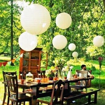 [Neustadt] パーティー イベント 装飾に 紙ちょうちん 10個セット ホワイト 直径30cm