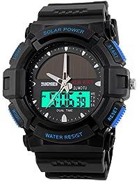 子供腕時計 学生腕時計 ソーラー エコドライブ アナデジ 50m防水 デジタル表示 アラーム ストップウオッチ 曜日 日付機能 省エネ ブルー