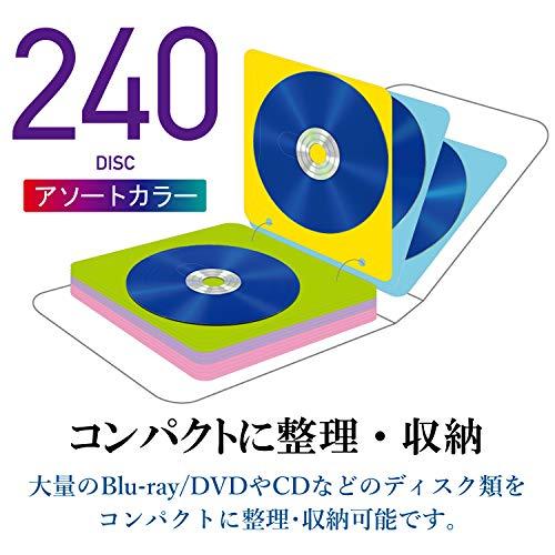 『エレコム DVD CDケース 不織布 両面収納 2穴付 120枚入 240枚収納可 5色アソート CCD-NBWB240ASO』の2枚目の画像
