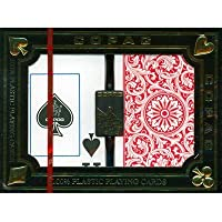 (Red/Blue) - Deluxe 2 Deck Set of Copag Series 1546 100% Plastic Playing Cards - Includes Bonus Copag Cut Card (RED/BLUE)