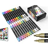 Metallic Acrylic Paint Pens 24 Marker Set 0.7mm Extra Fine and 3.0mm Medium Tip Combo for Rock, Glass, Mugs, Porcelain, Wood, Canvas, DIY Projects, Detailing. Non Toxic, Waterbased, Quick Drying.
