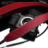 GARIZ Italian Leathere with Alcantara カメラネックストラップ AT-DSLAR Ergonomic Camera Neckstrap (レッド)