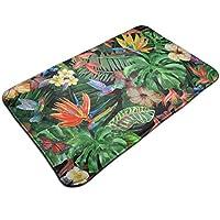 熱帯の花水彩画の葉と植物ドアマットエントランスマット屋内屋外用エントリガレージパティオ靴の敷物正面玄関バスルームのマットラバー非スリップ50 x 80 cm