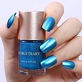 WebShopCenter(TM) 9ml Metallic Nail Polish Mirror Effect Blue Shiny Varnish Tools Nicole Diary