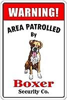 ボクサーによるパトロール 金属スズヴィンテージ安全標識警告サインディスプレイボードスズサインポスター看板建設現場通りの学校のバーに適した