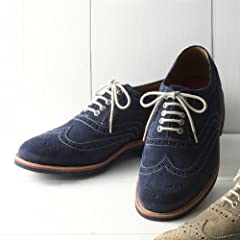 Grenson Suede Full Brogue Shoe: Navy