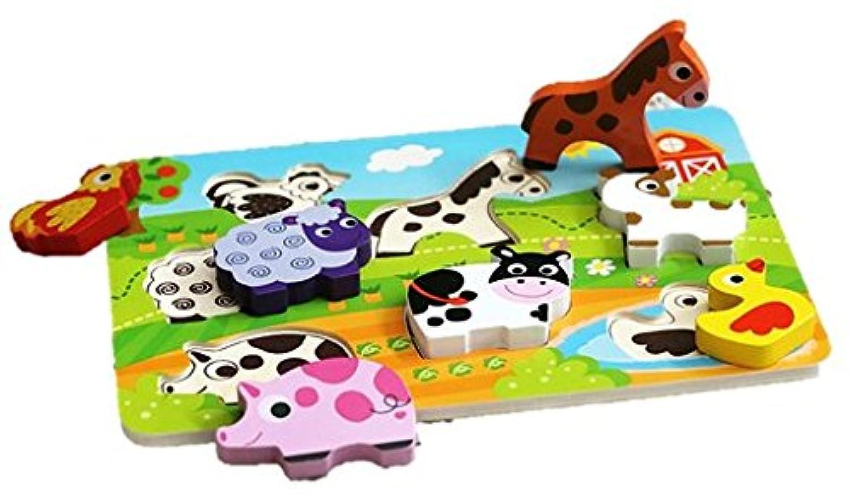 牧場のかわいいアニマル!木製パズル( 形合わせ?型はめ 1歳からの指先知育玩具)(Cubbie Lee Toy Company) [並行輸入品]
