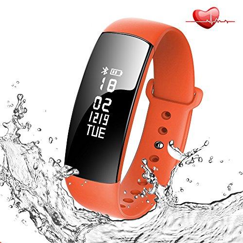 スマートブレスレット活動量計心拍計血圧測定歩数計 腕時計 IP67防水Bluetooth4.0スマートウォッチ着信電話通知SMS通知消費カロリー睡眠検測アラーム時計iphoneiOS&Android日本語APP対応フィットネスリストバンド (オレンジ)