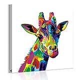 インテリア キリン 壁飾り 絵画 カラフルのキリン アートパネル 動物 アート ポスター画 壁キャンバス絵画(木枠セット)50*50cm*1