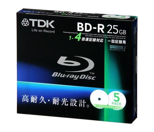 TDK データ用ブルーレイディスク 25GB BD-R(1回録画用) 4X ホワイトワイドプリンタブル 5mmケース 5枚パック BRD25PWB5S