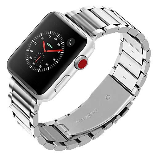 Fullmosa LUS ステンレス アップルウォッチ バンド コンパチ apple watch 4/3/2/1 バンド アップルウォッチ バンド 38mm 42mm 40mm 44mm 交換用 鋼製 ビジネス appleウォッチ バンド アップルウォッチ ストラップ (38mm, シルバー)