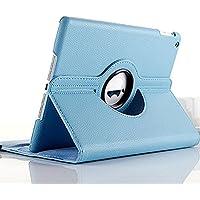 iPad mini1  iPadmini2   iPadmini用ケース 自動ウェイブ 自動スリープ機能付き ライチ皮 360度回転 レザーケース タブレットケース・カバー (水色)