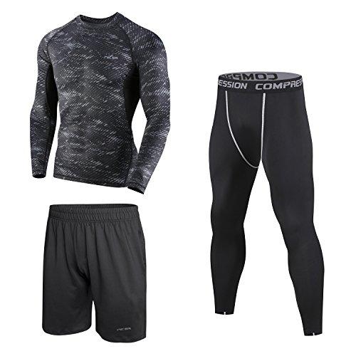 Niksa コンプレッションウェア メンズ スポーツウェア スポーツシャツ 長袖/半袖 ラウンドネック 吸汗速乾 3点セット (1612-3件セット 長袖 グレー,L )