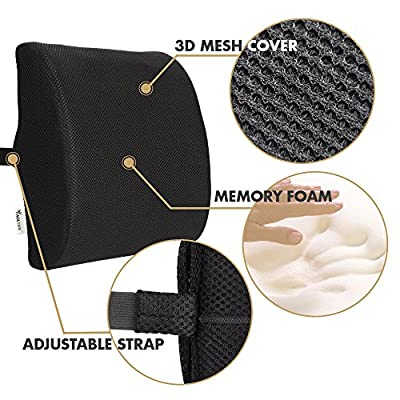 Lower Back Lumbar Support Pillow - Instant Back Pain Relief for Office Chair & Car Seat - Orthopedic Memory Foam Back Cushion for Improved Posture