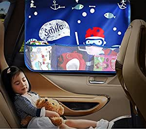 Asiso 車用カーテン 日よけ 遮光 UVカット 吸盤 後部窓用 収納ポケット付き 子供 ベビー 海 70cm×50cm