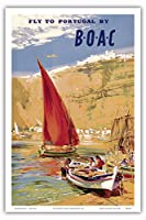 """Fly to Portugal–by BOAC (British Overseas Airways Corporation)–ヴィンテージ航空旅行ポスターbyフランク・Wootton c.1951–マスターアートプリント 12"""" x 18"""" PRTB3207"""