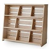 本棚 マンガ収納 スライド&ディスプレイ ブックエンド 木製 リアル木目 幅90 下段 単品 ナチュラル