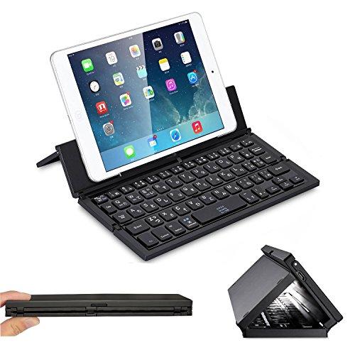 Bluetoothキーボード 折り畳み式 WloveTravel ワイヤレス IOS/Androidに対応 軽量 薄型 収納袋とスタンド付き (ブラック)