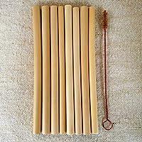 天然素材(再利用可能/生分解性)スペシャルバンブー(竹)ストロー8本+洗浄ブラシ1本セット