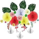 夏用ハワイアンプールパーティー装飾Tissue Honeycombペーパーファン、フラミンゴハイビスカス花ガーランド、人工Palm Leavesホームガーデン装飾、19pcs Easy Joy