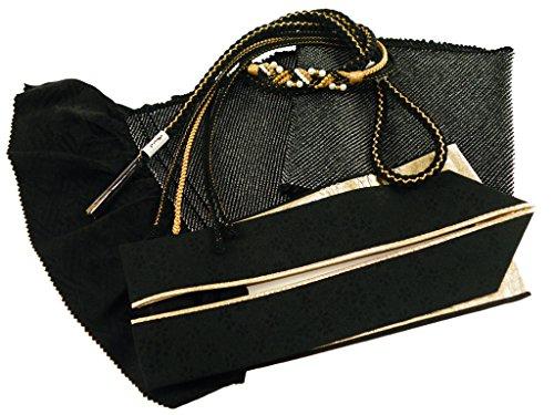 【さらさ】 振袖用 正絹 四ッ巻絞り 帯揚げ・帯締め・重ね衿 3点セット 黒 h-365