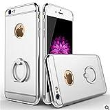 iPhone 6sPlus iPhone 6Plus ケース 耐衝撃 カバー 簡単装着 三重構造 レンズ保護 メタリック バンカーリング ホールド スタンド 落下防止 全面保護 360度回転 金属リング (iPhone 6Plus/6sPlus, シルバー)