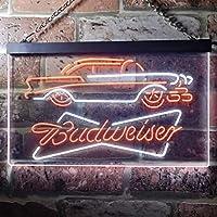 Vintage Car Auto Budweiser LED看板 ネオンサイン バーライト 電飾 ビールバー 広告用標識 ホワイト+オレンジ W30cm x H20cm