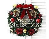 【ANION】メリー クリスマス ! ゴールド リボン と ベル が かわいい 30cm の 楽しく なっちゃう クリスマス リース 玄関