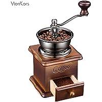クラシック手動式コーヒーミルーVIANKORS 粒度調整可能、研磨均一、ステンレスのハンドル、セラミックスの臼、天然木のベース、人体工程学デザイン、もっとおいしい、コーヒーマニアがおすすめ