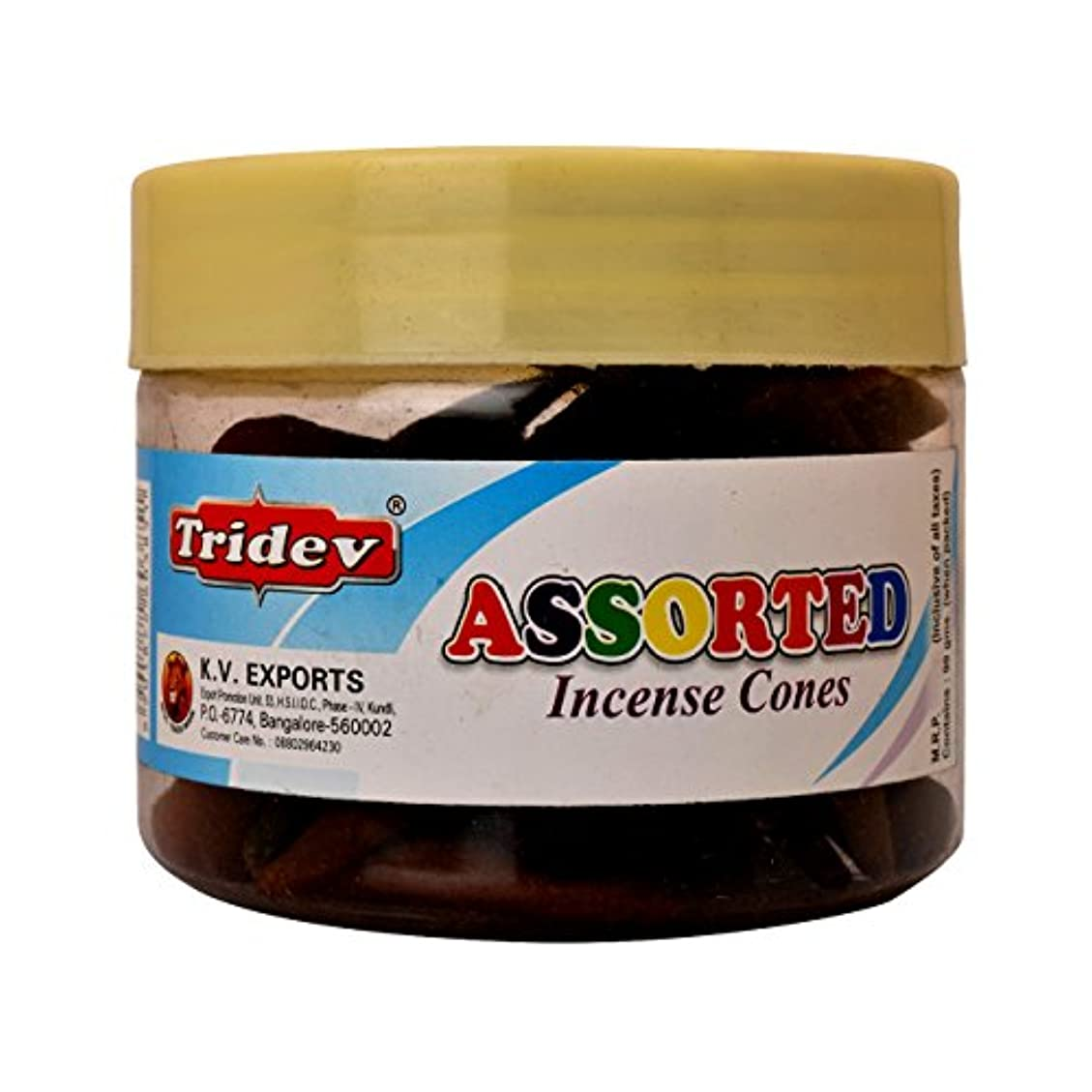 Tridev Assorted Incense Cones Jar 90グラムパック