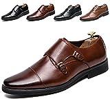 [Kitlilur] ビジネスシューズ メンズ 紳士靴 革靴 ドレスシューズ 靴 シークレット 高級レザー 外羽根 ストレートチップとモンクストラップ 防水防滑 軽量 通気性 冠婚葬祭 ブラック ブラウン 大きいサイズ(J52033-Brown-25.5cm)