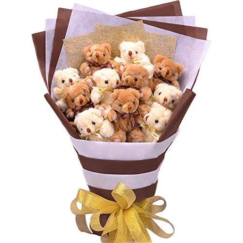 夢の初 最高プレゼント! 大切な人に くま束(11匹) ベア ブーケ 可愛いクマぬいぐるみ 扇形 結婚式 結婚記念日 誕生日プレゼント 成人礼 出産祝い プロポーズ お祝い 卒業式 サプライズ