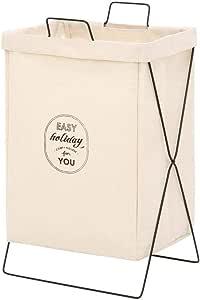 不二貿易 ランドリーバスケット 洗濯かご 幅37cm アイボリー 折りたたみ 持ち運び可能 内側撥水加工 32810