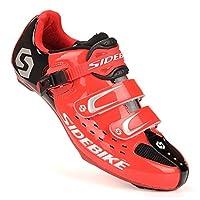 自転車 ビンディング シューズ ロード バイク スポーツ サイクリング シューズ レッド/ブラック SD001-RD-RDBK-45