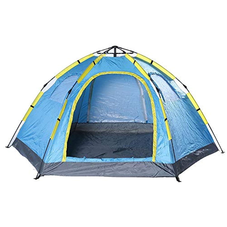 鉱夫強化する合体キャンプテント キャンプテント自動インスタントポップアップキャンプホームビーチテント大家族 軽量で便利なテント (Color : Blue)