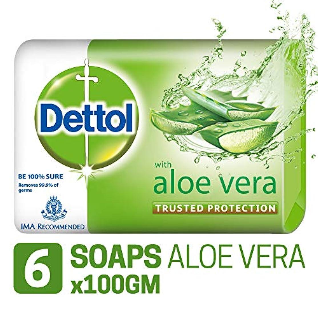 悲惨な解明する福祉Dettol Soap - 100 g (Pack of 6, Aloe Vera)