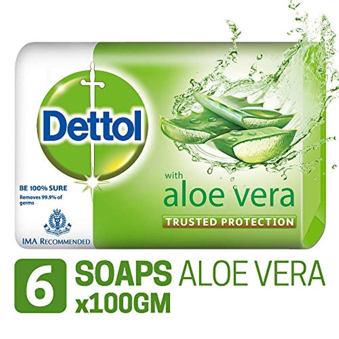 収まる湿った思いやりのあるDettol Soap - 100 g (Pack of 6, Aloe Vera)