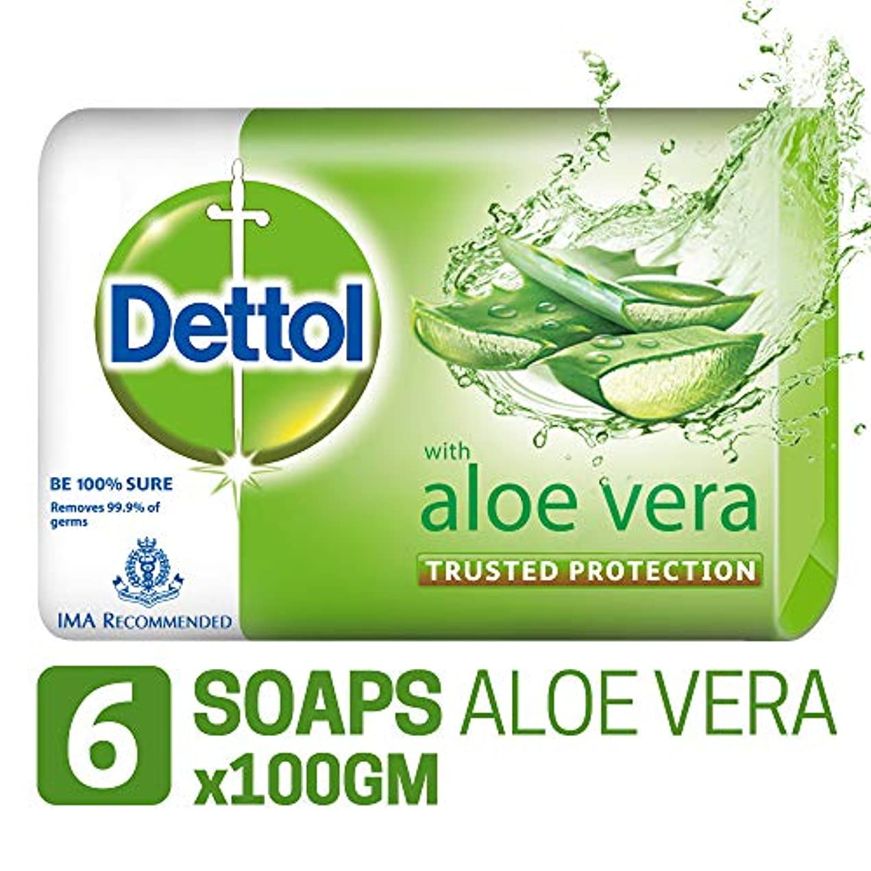 信頼発表する永久Dettol Soap - 100 g (Pack of 6, Aloe Vera)