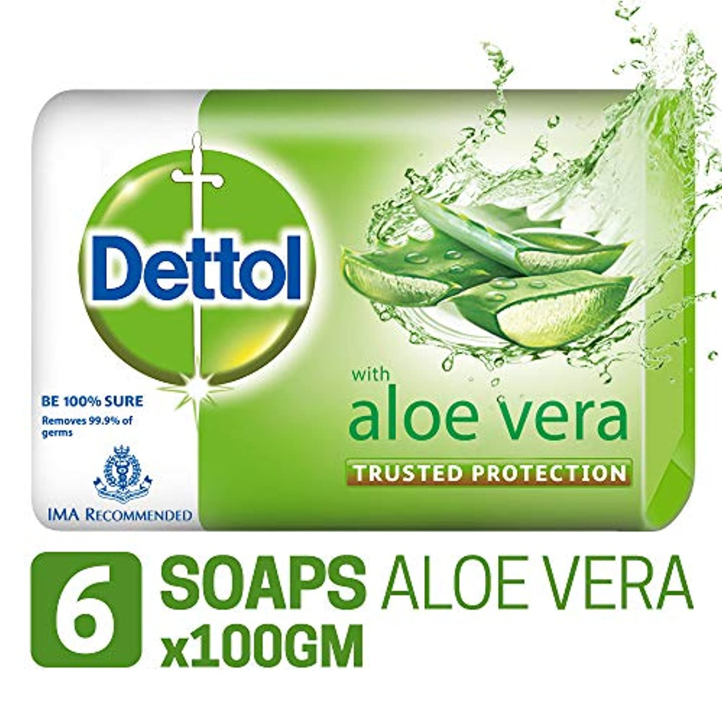 しがみつく乏しい飲料Dettol Soap - 100 g (Pack of 6, Aloe Vera)