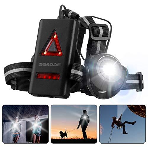 ランニングライト チェストライト ジョギングライト 夜間 SGODDE 2019最新版 led 500ルーメン USB充電 IPX4防水 2段階の点灯モード 警告灯 270°調整可能 ランニング ジョギング ハイキング 腰 ライト 超軽量