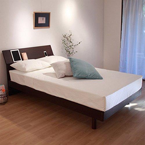 【直送】宮付床板頑丈すのこベッド(ボンネルコイルマットレス付・ダブル) Bダークブラウン